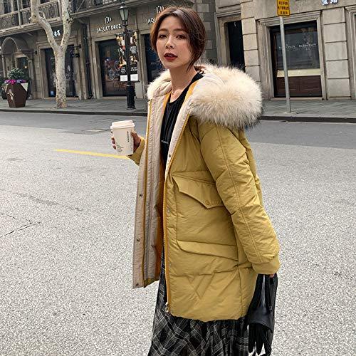 CZPF donsjack vrouwen met verdikte bontkraag winterjas, katoenen jas, lange losse studentenbroodjesservice