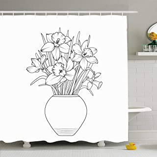 Ahawoso Shower Curtain Set with Hooks 72x72 Black Vase Flowers Narcissus Daffodil Flowerpot Nature Outline White Floral Pot Beautiful Bloom Waterproof Polyester Fabric Bath Decor for Bathroom