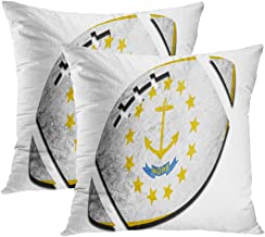 Janyho Set of 2 Throw Pillow Covers Rugby Ball Rhode Island State Flag America Living Room Sofa Bedroom Polyester Hidden Zipper Pillowcases Cushion Cases 18x18 Inch