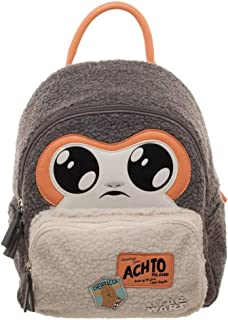Star Wars EP8 Porg Sherpa Mini Backpack With Patches Soft Porg Face Cute
