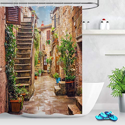 LB Country Style Italy Shower Curtain Old European Alley Stone Rock House with Green Floral Rural Decor Nature Scenic Shower Curtain 60x72 Inch Waterproof Fabric with 10 Hooks