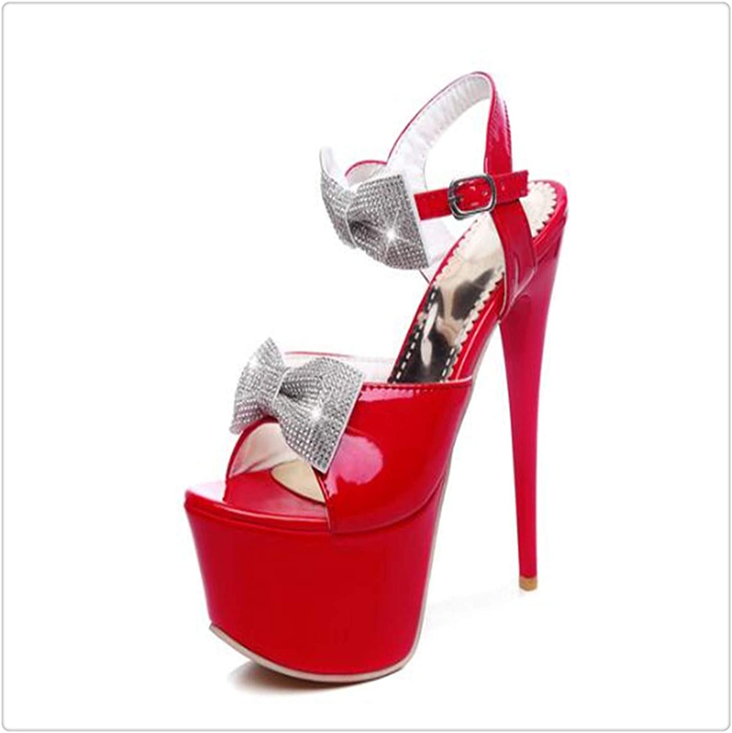 Msanlixian high-Heeled Sandals Summer Dew Rhinestone Butterfly Toe Women Leather