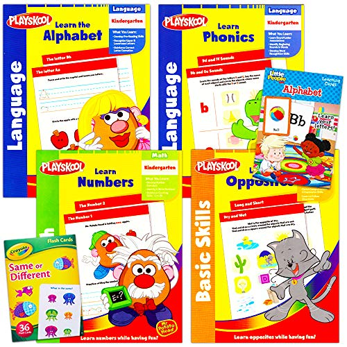 Preschool Workbooks and Flashcards for Toddlers Kids Set, 2-4 Years -- 6 Pack Includes, 2 Flashcards Decks and 4 Workbooks for Preschoolers with Stickers (Alphabet, Counting, Colors, Shapes and More)