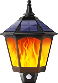 BurningYears Solar Lights Outdoor Decorative, 2 in 1 Sconce Decorative Flickering Flame Wall Lights Dusk to Dawn, 87 LEDs ...