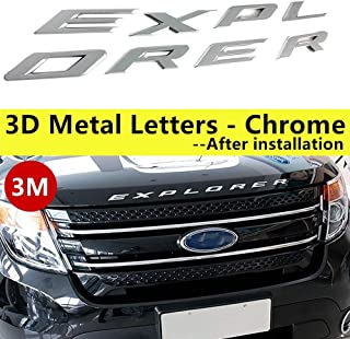 2011-2017 3D Metal (not Plastic) Fit for Ford Explorer Sport Chrome Black Front Hood Emblem Letters Badge Deca(Chrome)