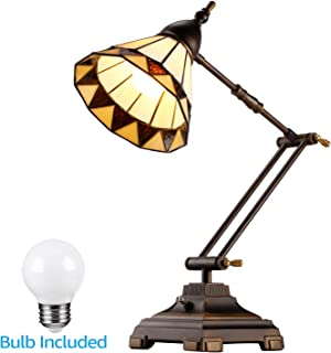 ESCENA Tiffany Style Swing Arm Desk Lamp, Mission Style Table Light, Colored Glass Lampshade, Alloy Light Base, Decoration Lighting for Bedrooms, Living Rooms, Offices