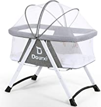 Dourxi 2-in-1 Stationary&Rocking Bassinet, Portable Bedside Crib with Breathable Mesh Side, Firm Mattress, Mosquito Canopy and Quick Fold Design, Lightweight Travel Cradle for Newborn Baby