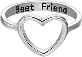 OldSch001® Friendship Rings,Fashion Letter Best Friends Ring Simple Hollow Heart Ring