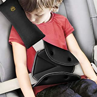 Seat Belt Pillow and Adjuster for Kids,Seat Strap Cover and Seatbelt Adjuster,Car Travel Neck Support Headrest Pillow,Seat Belt Adjuster and Seat Strap Cushion Pad Cover for Child Short People (Black)