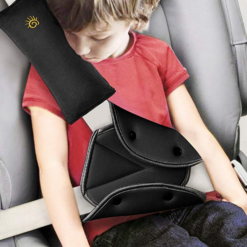 Seat Belt Pillow And Adjuster For Kids Seat Strap Cover And Seatbelt Adjuster Car Travel Neck Support Headrest Pillow Seat Belt Adjuster And Seat Strap Cushion Pad Cover For Child Short People Black