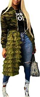 Macondoo Women Sexy Printed Full Zip Stitching Coat Camouflage Jacket