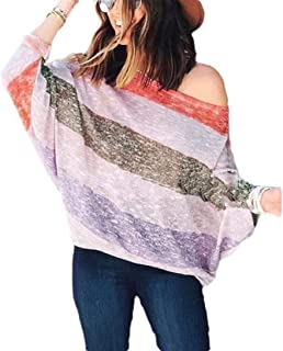 neveraway Womens Casual Leisure Trendy Blouse Strip Batwing Sleeve T-Shirt