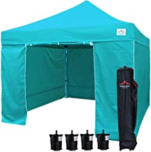 UNIQUECANOPY 10'x10' Ez Pop Up Canopy Tent Commercial Instant Shelter, with 4 Removable Zippered Side Walls and Heavy Duty Roller Bag, 4 Sand Bags Lake Blue