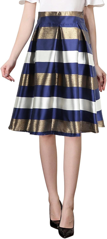 MYDC Women Skirts HighWaist Print Striped Umbrella Pleated Dress Flared Midi Retro Petticoat for Party Prom Evening Dress