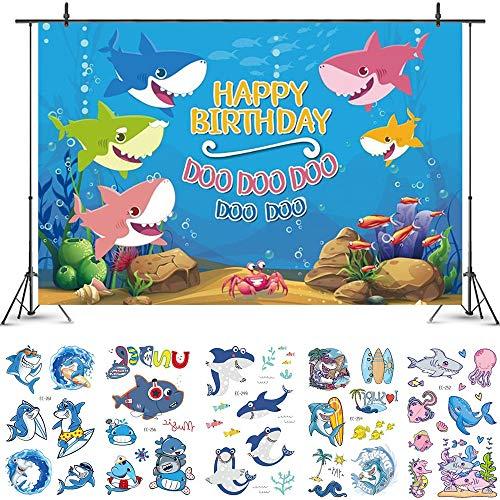 Leuke Haai Gelukkig Verjaardag Thema Achtergrond met Haai Stickers, Haai Familie Onderwater Wereld Achtergrond, Kids Decoratie Banner Fotografie Achtergronden voor Photo Studio