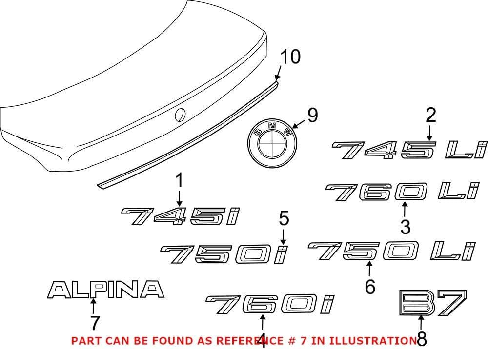 Genuine OEM Rear Deck Lid Emblem Alpina For E65 B7 40% OFF Cheap Sale Gorgeous BMW 2008-2008
