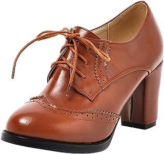 Dear Time Women's T-Strap Oxfords Buckle Mary Jane Platform Brogue Shoes