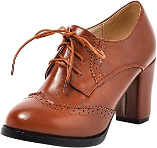 Dear Time Block Heels Wingtip Oxfords Vintage PU Leather Brogue Shoes Woman