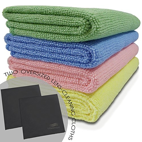 VibraWipe Microfiber Cloth - Starter Pack (6 Cloths). 4 x All-Purpose Cleaning Cloths, 2 x Oversized Lens Cleaning Cloths for LCD, Tablets, Lenses. High Absorbent, Lint & Streak-Free