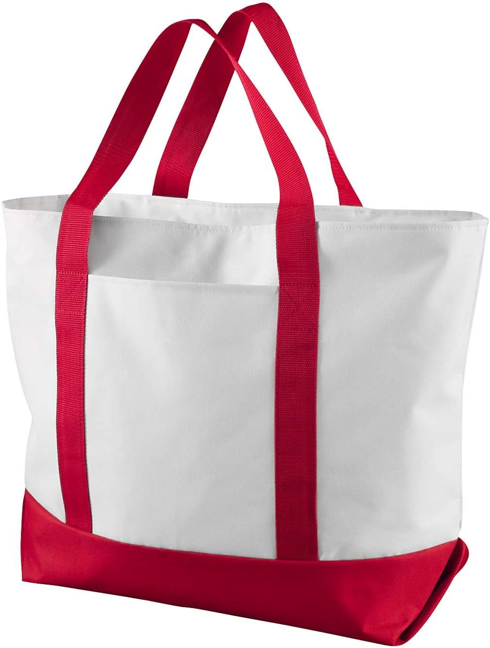 Liberty Bags Bay View Giant Zippered Boat Tote (7006)- WHITE/RED, OS
