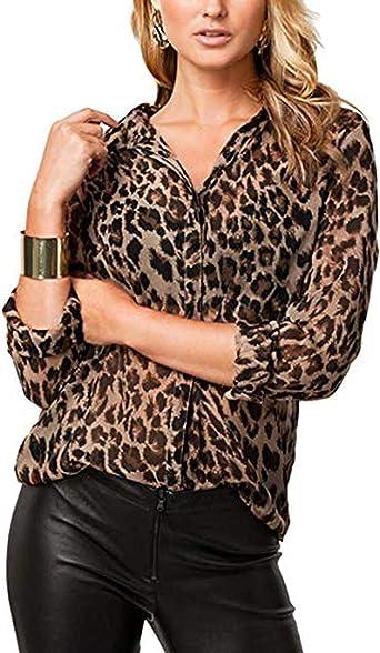 Blusa De Gasa para Mujer De Manga Larga De Leopardo Camisa Sexy con Cuello En V