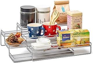 EZOWare Especiero Extensible de Metal con 3 Niveles, Estante Organizador de Cocina para Especias, Condimentos, o Cosas del Hogar - Color Plata