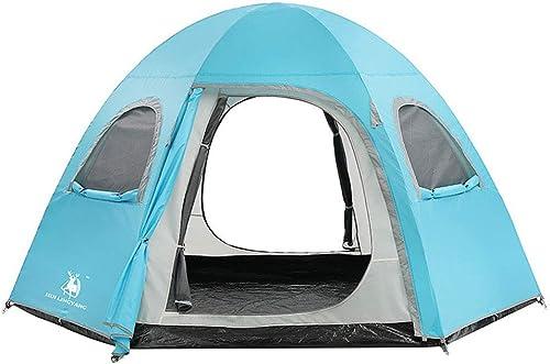 KISlink Tente extérieure Double Tente de Camping hexagonale d'augmentation Anti-Pluie 5-8 Personnes Tente