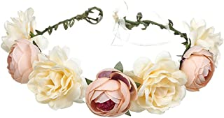June Bloomy Women Rose Floral Crown Hair Wreath Leave Flower Headband with Adjustable Ribbon