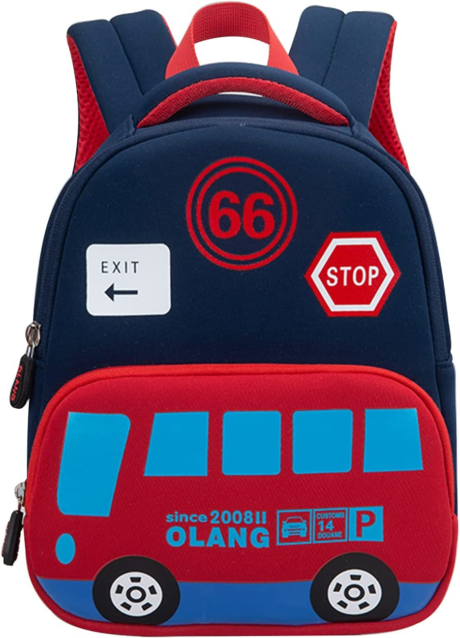 Kids Bus Backpack with Leash, with Safety Leash,Buckles in the Front , Cute Medium Rucksack for Boys & Girl