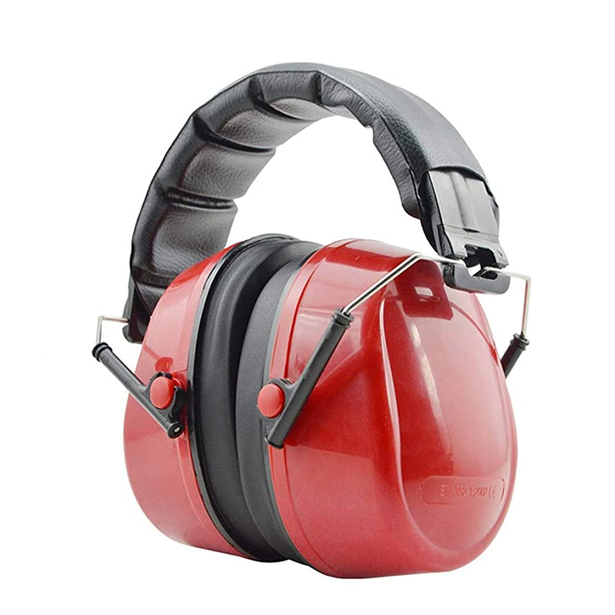 Safety Ear Hearing Protection Ear Small Adults Women - Foldable Design Ear Defenders Adjustable Padded Headband Noise Reduction Hearing Protection Device (Color : Red, Size : Free Size)