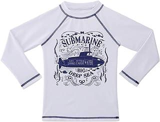 TIZAX Camiseta UV de Manga Larga para niños Traje de baño con UPF 50+ protección Solar Rashguard para Surf/Nadando/Buceo/P...