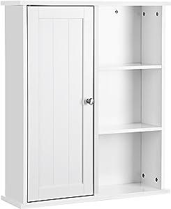 VASAGLE Schränkchen Hängeschrank Wandschrank Badschrank Küchenschrank Regal Aufbewahrung mit Tür und Einlegeboden weiß 60 x 71 x 18 cm ( B x H x T) BBC20WT