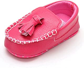 Lidiano Infant Baby PU Leather Soft Sole Moccasins Flat Loafers Sneakers 0-18 Months (12-18 Months, Rose Tassels)