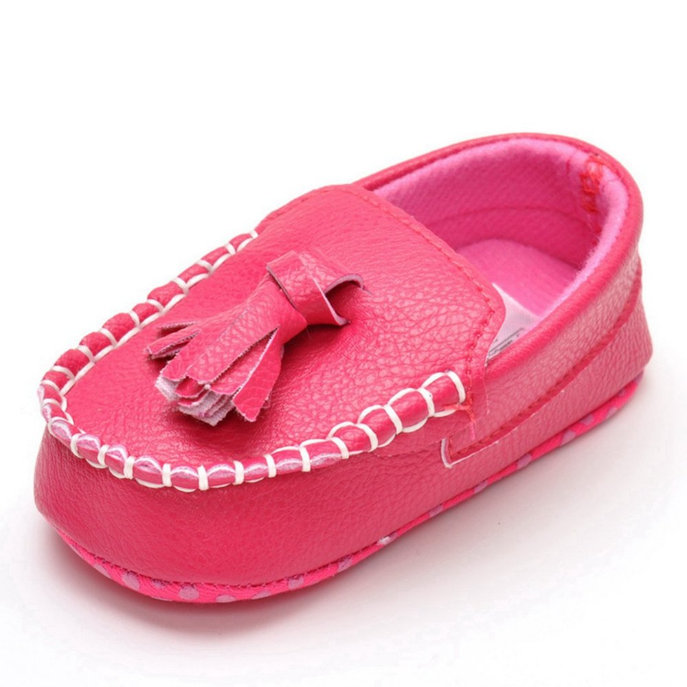 Lidiano Infant Baby PU Leather Soft Sole Moccasins Flat Loafers Sneakers 0-18 Months (6-12 Months, Rose Tassels)