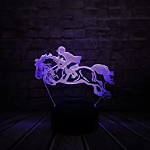 LINZEWANG 3D Acrylic Horse Racing Led USB Remote Control Charging Home Decoration 7 Color Change Table Night Mood Light Festival Friends Gift