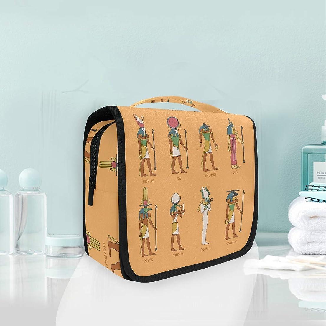 鮮やかな証明するリーズ古代エジプトの神々ぶら下げ折りたたみトイレタリー化粧品化粧バッグ旅行キットオーガナイザー収納ウォッシュバッグケース用女性女の子浴室