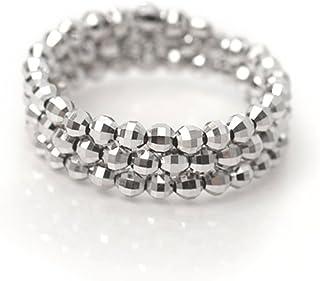 K18WG ホワイトゴールド ミラーボール コイル リング 形状記憶 チタンワイヤー入り フリーサイズ K18 指輪 18金 スパイラル リング