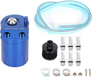 ECCPP ECCPP Brand New 300ML Universal Aluminum Engine Oil Catch Tank Can Polish Baffled Reservoir Air-Oil Separator Blue
