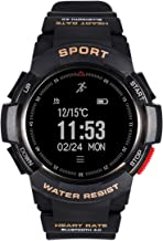 F6 Bluetooth Smart Watch IP68 Waterproof Sport Tracker Watch Outdoor Style Touchscreen with Pedometer, Message Push, Sleep Monitor, Heart Rate, Alarm Clock and Stopwatch (Black + Black)