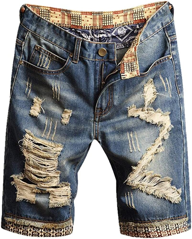 NP Men's Summer Ripped Denim Shorts Patchwork Knee Length