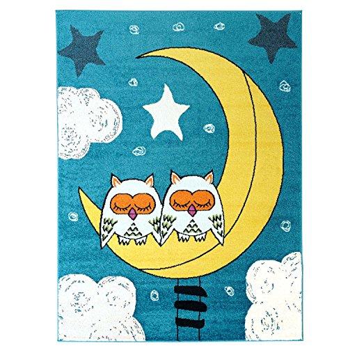 carpet city Kinderteppich Moda Kids Eulen Mond Sterne türkis gelb Kinderzimmer 80x150 cm