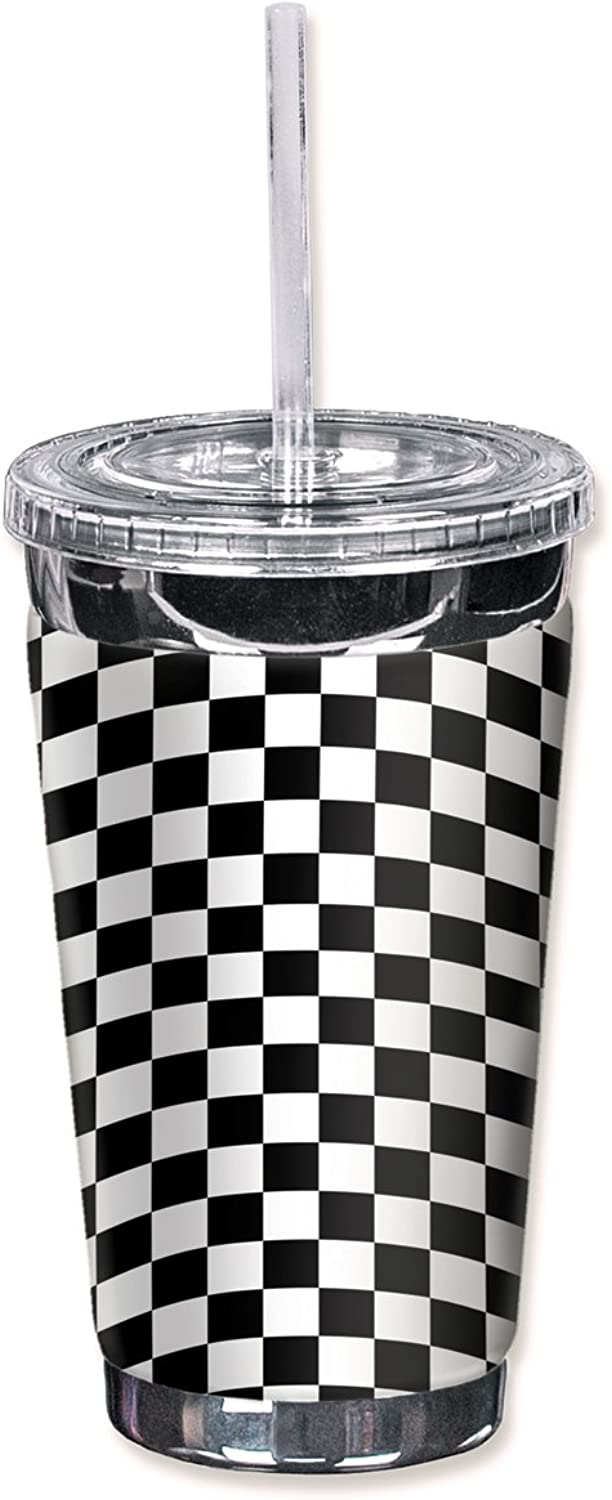 Mugzie 503-TGC Checkered Flag  To Go Tumbler with Insulated Wetsuit Cover, 16 oz, Black