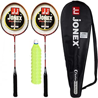 JJ Jonex Set of 2 Racket with Faster and Attack Nylon Plastic 10 Pieces Combo Shuttlecock