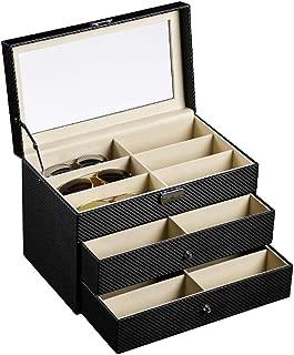 Siveit Sunglass Organizer Leather Eyeglasses Collector Eyewear Display Case Storage Box (18 Slots Carbon Fiber)