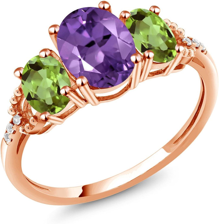 2.04 Ct Oval Purple Amethyst Green Peridot 10K pink gold Diamond Accent Ring