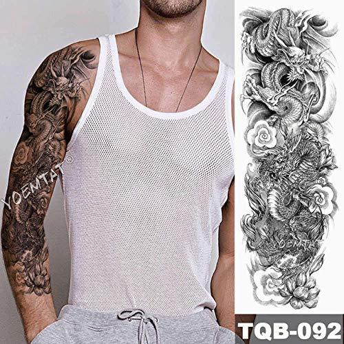 Japonés Big Arm Lion Tattoo Manga Impermeable Tatuaje Aplique Cráneo Animal Hope Hombre Mujer