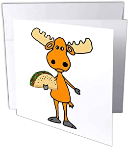 3dRose All Smiles Art - Animals - Funny Cute Big Headed Moose Eating Taco Mexican Food Cartoon - 1 Greeting Card with Envelope (gc_311681_5)