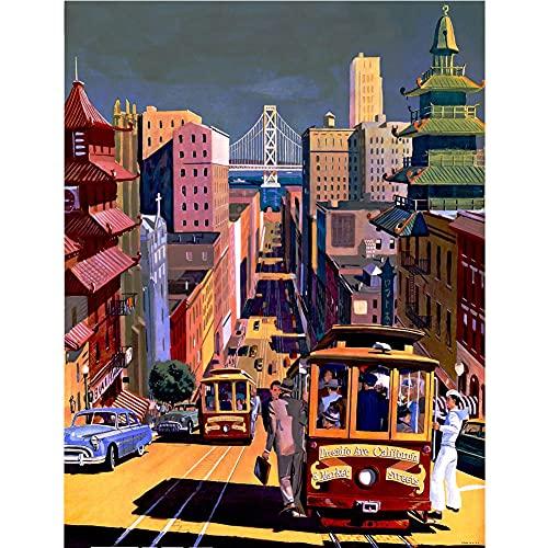 Pintar por Números Kits,Pintar por Numeros para Adultos Niños Tranvía de la ciudad DIY Conjunto Completo de Pinturas para el Hogar Decoraciones-Without_Framed_40x50cm E780