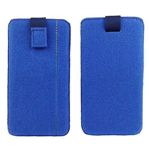 handy-point 5,0'' Filztasche Tasche Hülle aus Filz für Samsung, iPhone, Sony, Lenovo Moto, Huawei, Alcatel, Gigaset, Medion, Neffos, Geräte mit Max.14,2x7,3xx1cm (Blau hell)