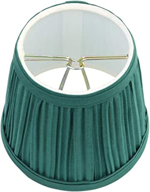 """Renovators Supply Manufacturing Small Clip On Lamp Shade Green Fabric 4"""" Tall Vintage Mini Clip On Pleated Drum Style Fit"""